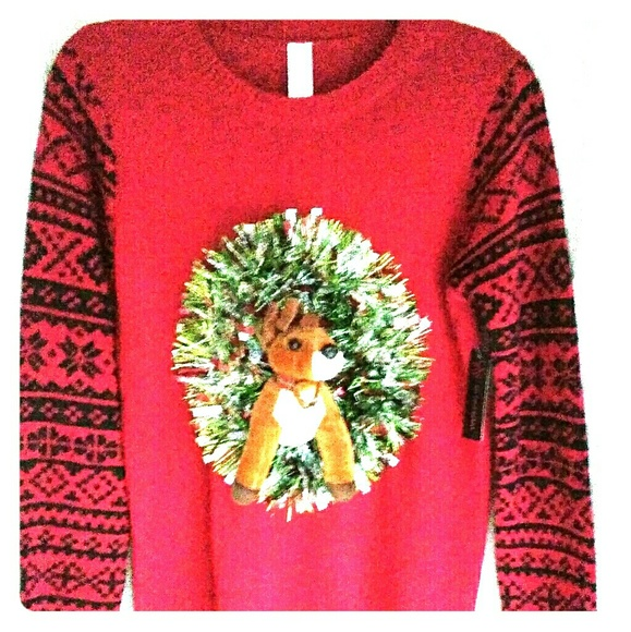 nwt cool 3d reindeer ugly christmas sweater